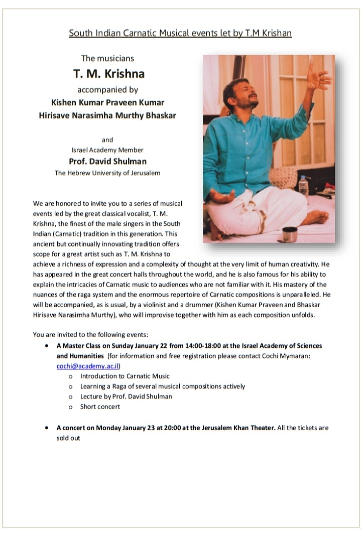 South Indian Carnatic Musical events let by T.M Krishan