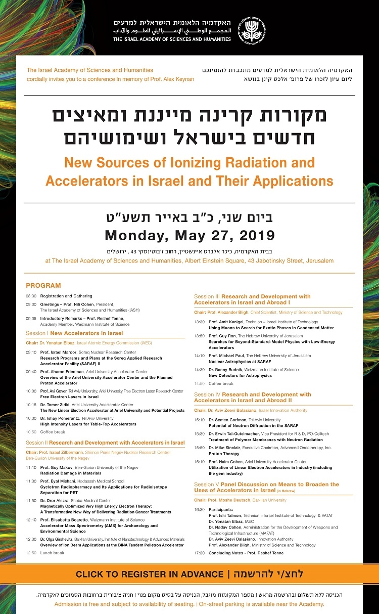 Conference in memory of Prof. Alex Keynan: New Sources of Ionizing Radiation and Accelerators in Israel and Their Applications
