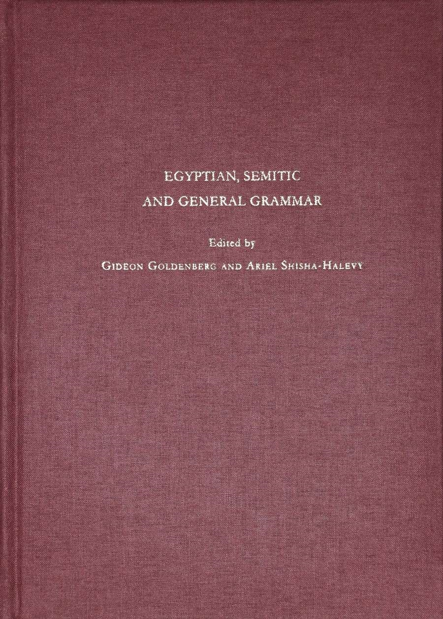 Egyptian, Semitic and General Grammar